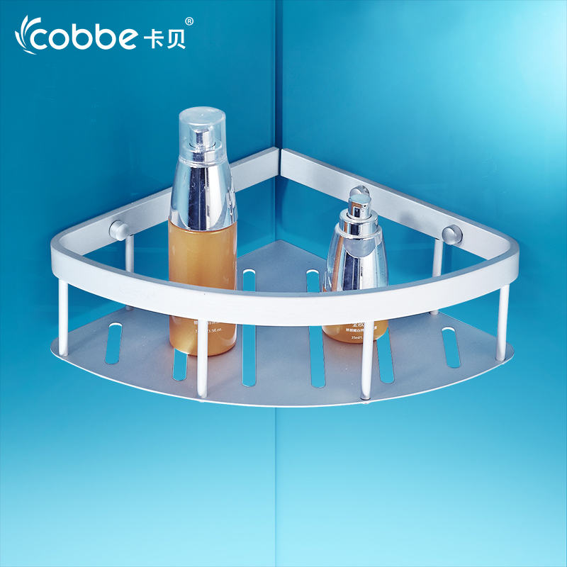卡貝衛浴置物架免打孔衛生間轉角架浴室單層鋁籃壁掛三角形網籃