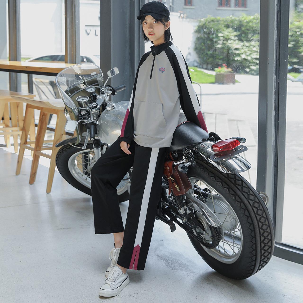 尔给卫衣运动服休闲套装女学生两件套2019新款春秋套装裤宽松韩版