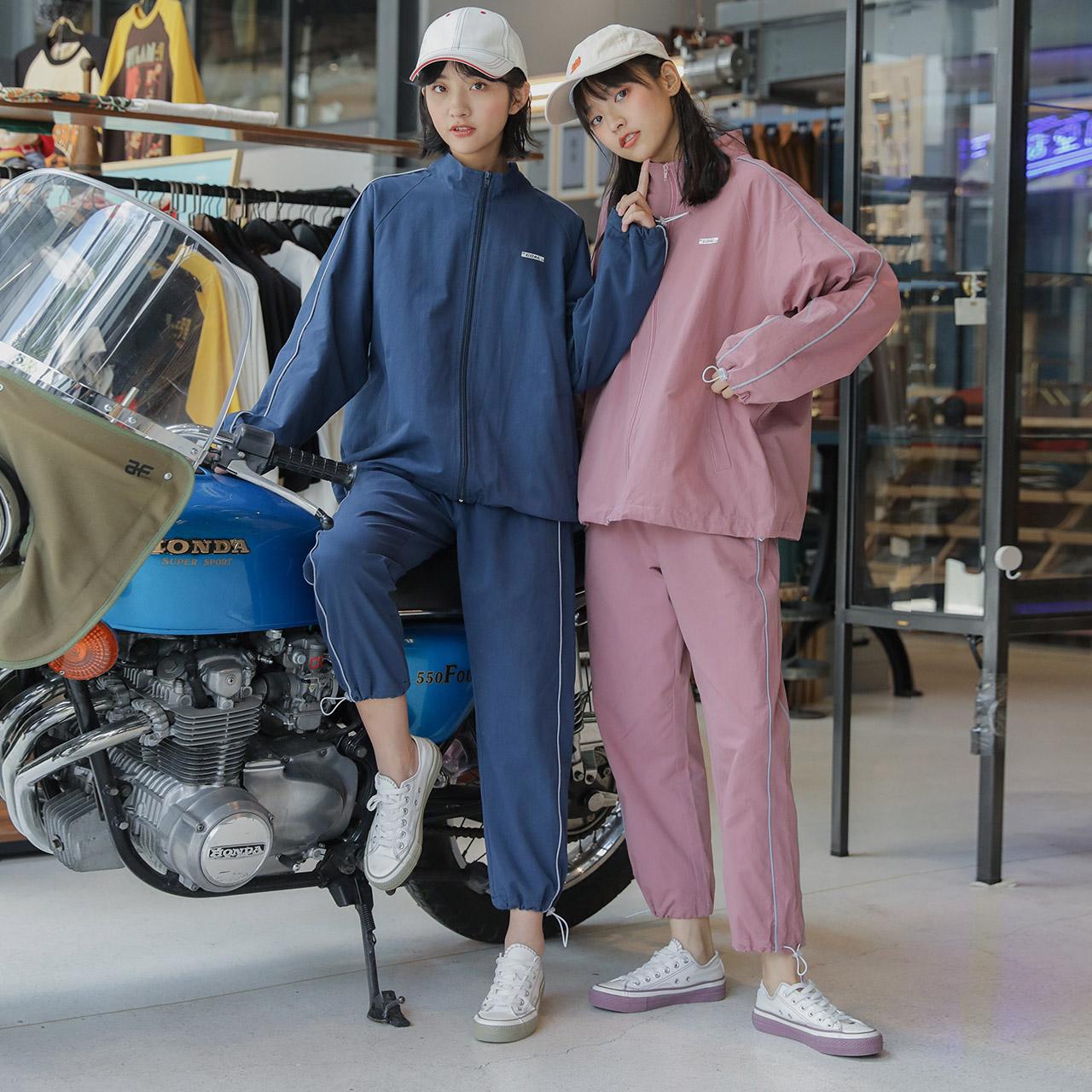 少女bf女装潮学生秋季运动套装女休闲两件套原宿风宽松韩版运动装(用5元券)