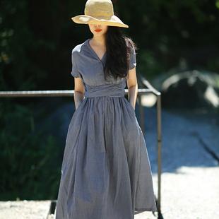 晚 游设计原创小西装 色织棉连衣裙 领宽腰大摆短袖 熏