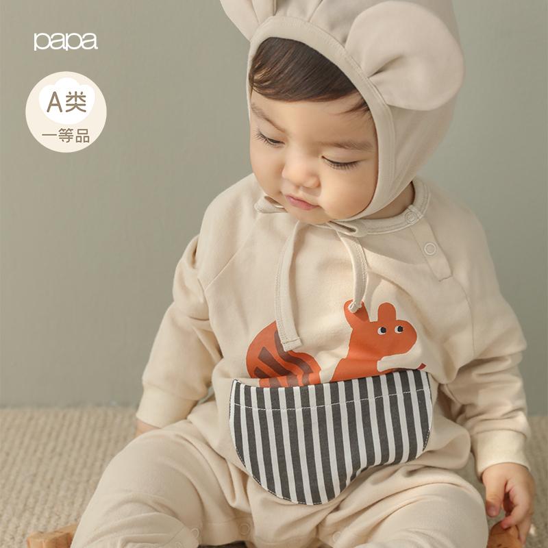 papa爬爬春男女宝宝纯棉动物印花连体衣婴儿口袋爬服哈衣0-3岁