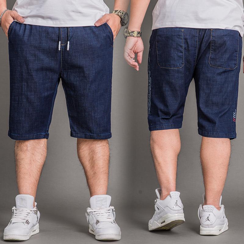 夏季薄款松紧腰男士牛仔短裤高腰五分中裤弹力宽松直筒加肥加大码