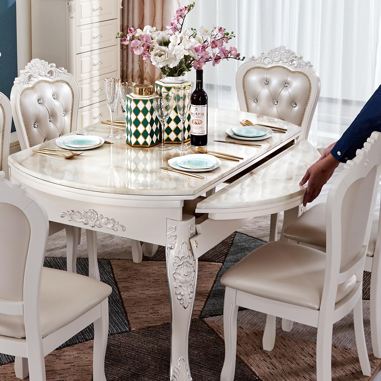 12-01新券欧式组合大理石伸缩折叠圆桌餐桌