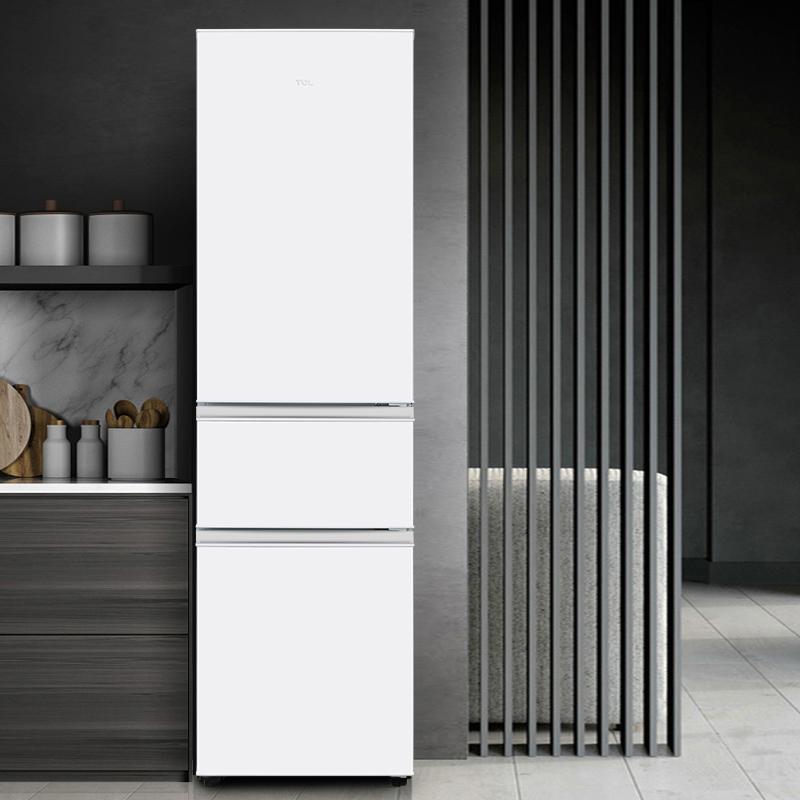 TCL家用200升三开门电冰箱中型冷藏冷冻柜小型三门白色超薄窄省电