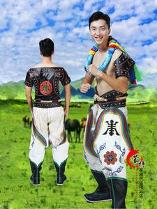 蒙古族博克手服装男士摔跤手那达慕表演比赛运动民族手工制作包邮