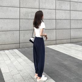 胖妹妹大码萝卜裤2020新款女装夏装高腰阔腿直筒女裤子宽松显瘦潮图片