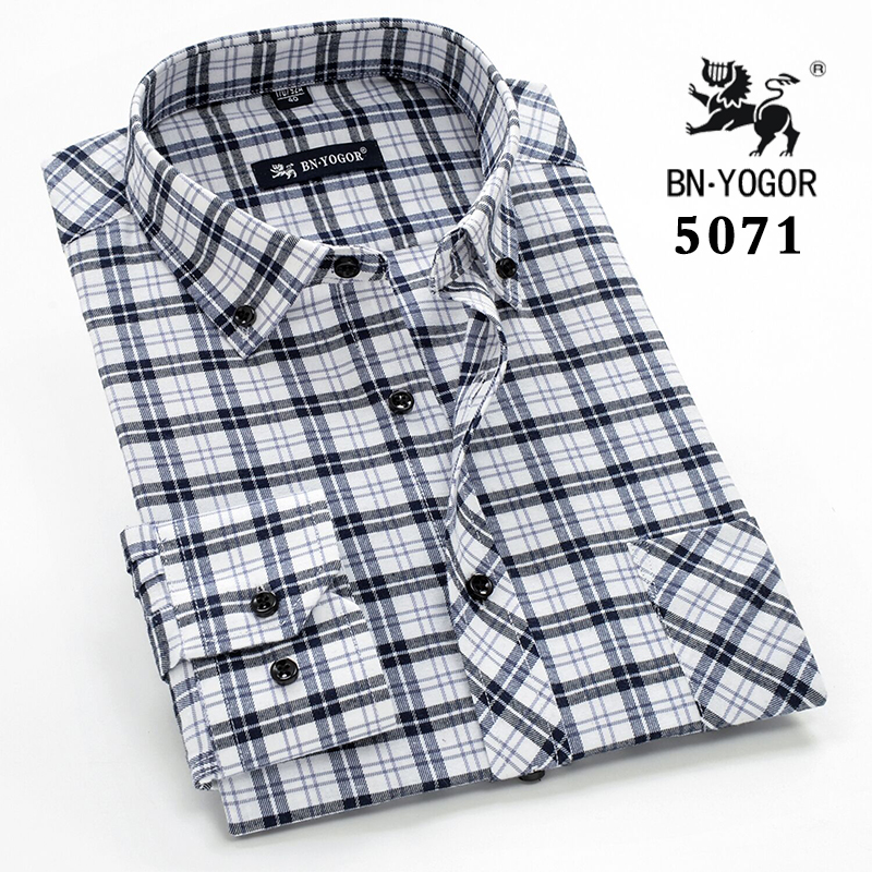 Middle aged and elderly Cotton Long Sleeve Shirt cotton square Plaid dads business casual easy wear middle aged mens shirt