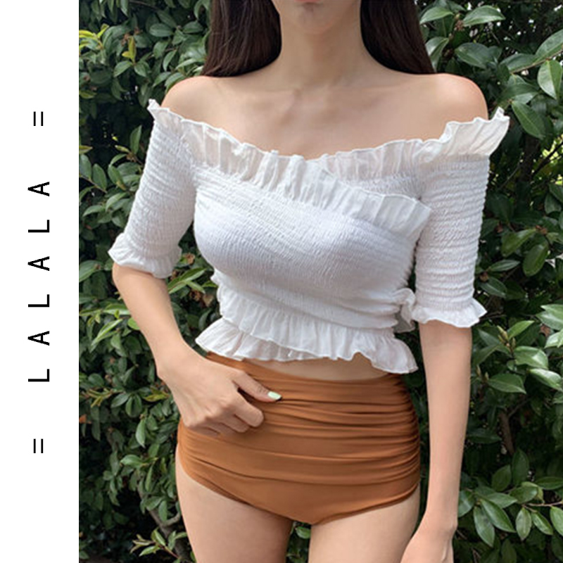 2019 South Korea new color contrast sexy fresh short sleeve one shoulder wooden ear high waist split student two piece swimsuit