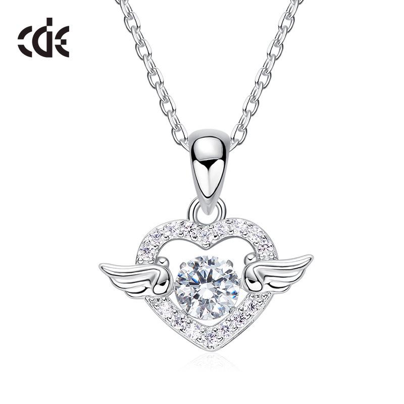 Sidale angel wings S925 Sterling Silver Necklace Pendant female Korean version smart diamond zircon beating heart gift