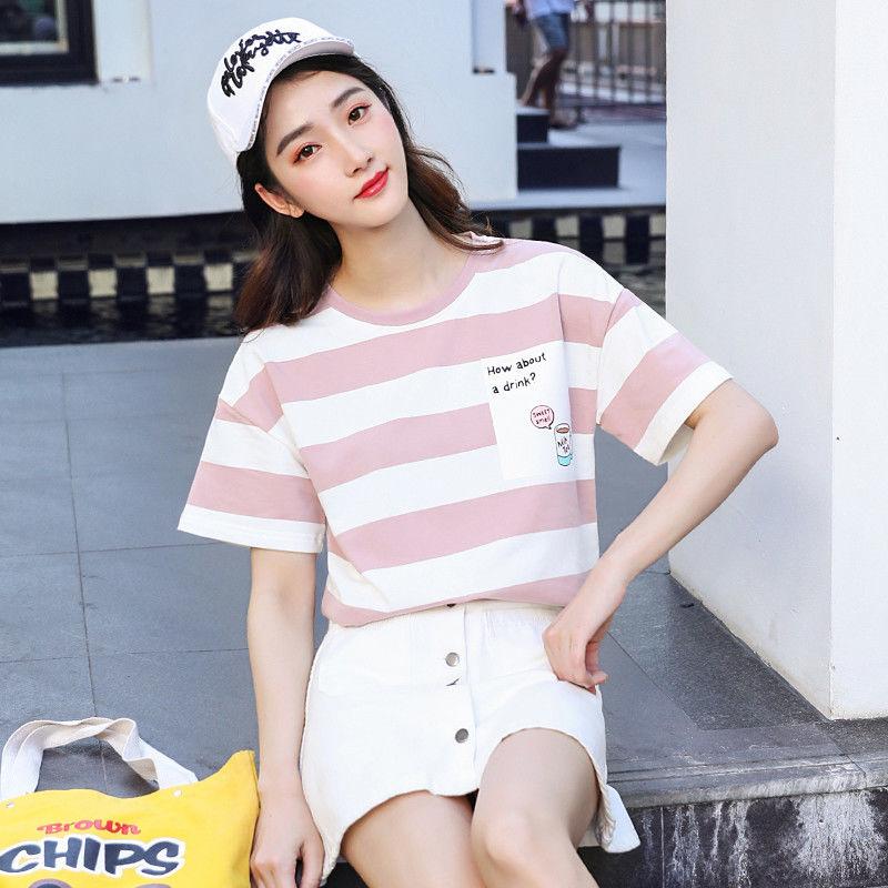翰代維夏季短袖T恤女寬松2019新款韓版條紋百搭體恤學生半袖上衣
