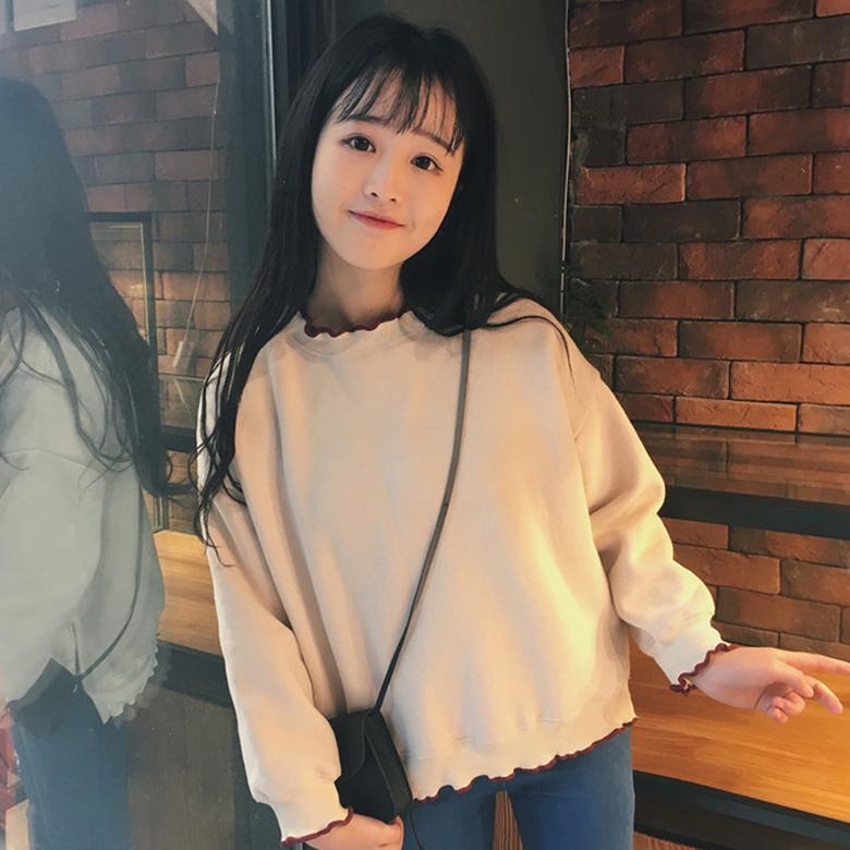 2018春秋新款韩版日系软妹卫衣女宽松百搭bf蝙蝠袖套头上衣姐妹装