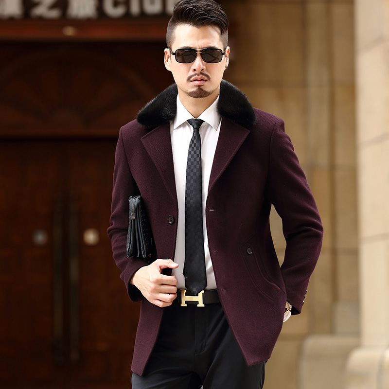 LiLang mens clothing official website clearance woolen coat winter woolen jacket thickened coat middle aged Mink Collar top