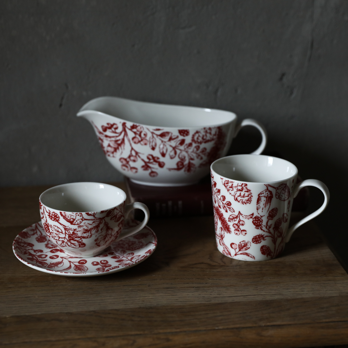 W1962英国复古英式下午茶浆果植物咖啡杯碟/茶杯马克杯酱料壶奶壶限1000张券