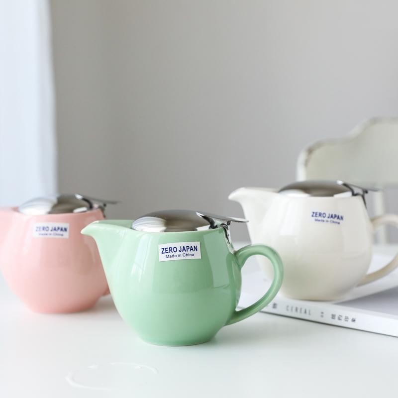 11月07日最新优惠W1962出口日本马卡龙色无铅陶瓷带滤网茶壶茶具咖啡壶单人小茶壶