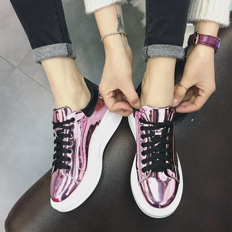 2016 весна новая Корея sneaker волна Harajuku обувь с платформы обувь и отдыха с смешанных цветов корейских женщин обувь