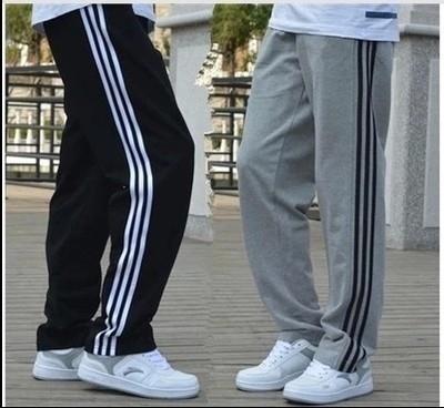 。夏季薄款男式宽松运动裤加肥加大码男装休闲直筒长裤学生裤子
