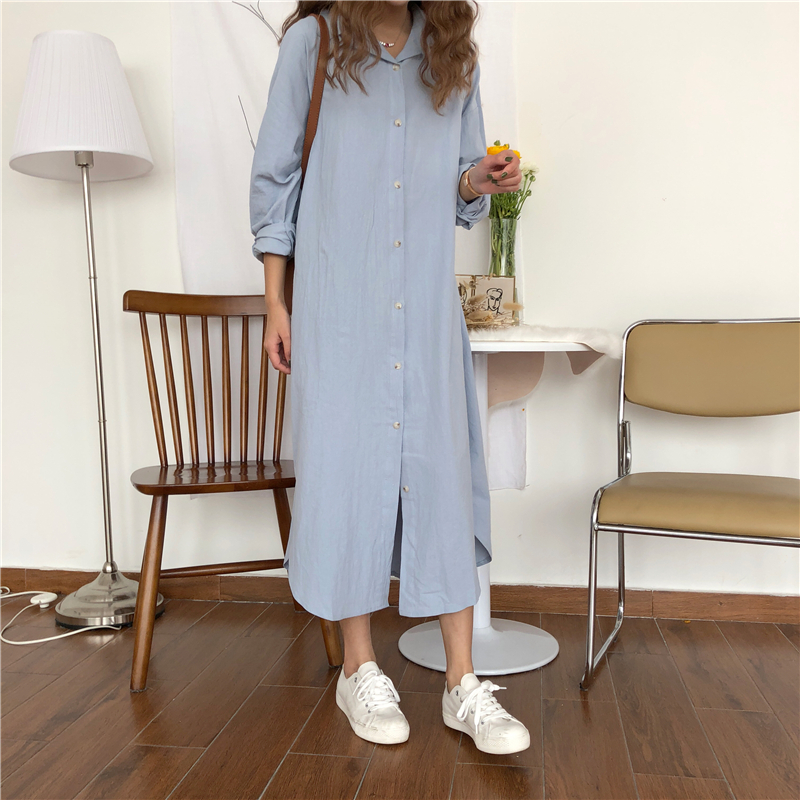 Simple and lazy style knee length shirt dress womens loose Korean chic solid color long sleeve large size shirt