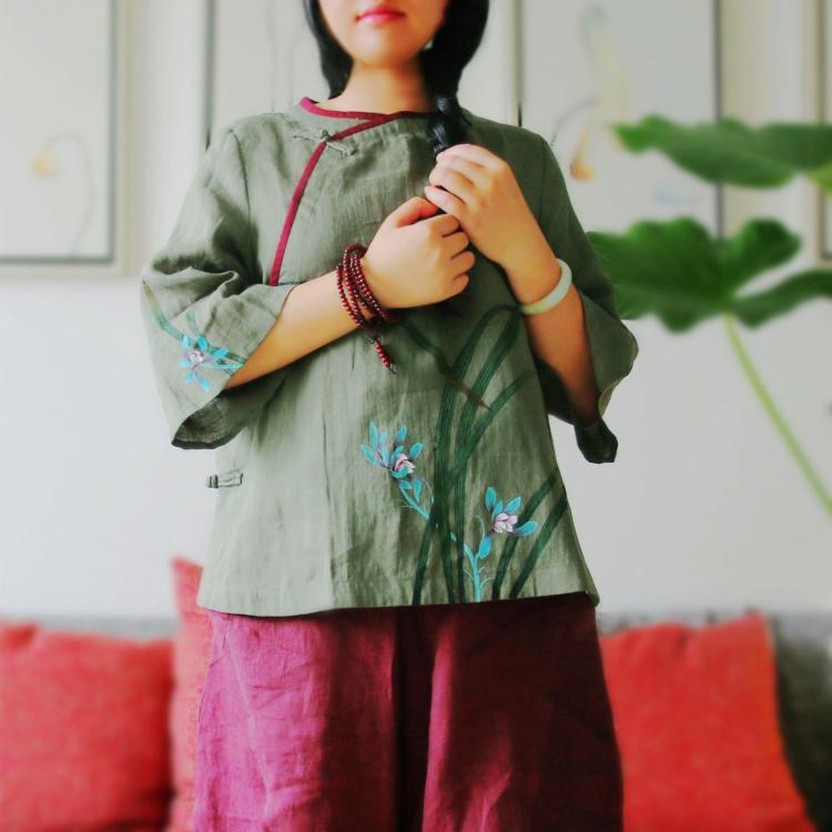 Lingke converted to the original Chinese style improved coil button pure hemp hand-painted shirt Zen unique temperament short robe tea dress