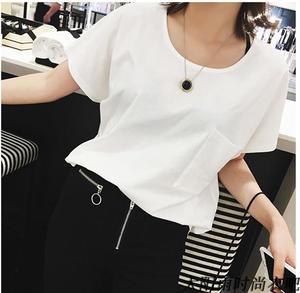 夏季女装小心机性感大V领露背白色T恤女后背镂空宽松短袖上衣