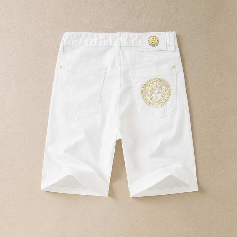 High quality pure cotton summer new leisure White Embroidery fashion mens versatile boutique Embroidered Denim Shorts