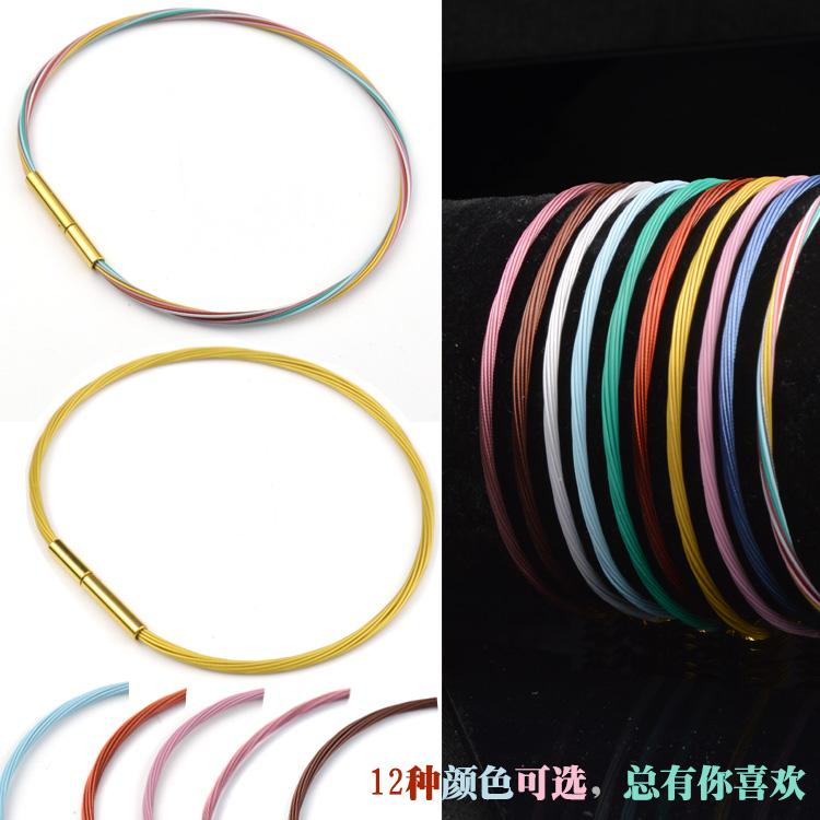 金丝钢丝绳手绳可穿珠金饰吊坠硬金转运金半成品细手链金色手环3d