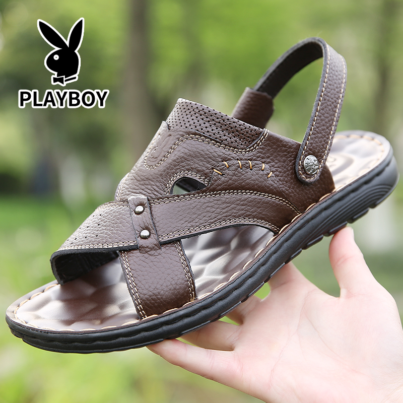 Playboy sandals mens 2019 mens leather sandals Korean casual trend sandals soft soled beach shoes men