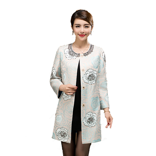 Spring new middle-aged and elderly womens dress national style loose windbreaker increase high-grade mothers wedding dress Decor coat