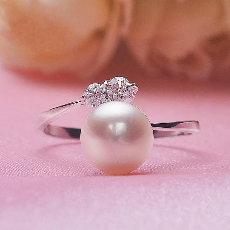 融秀扁圆 光洁强光7-8mm淡水珍珠开口镀银戒指时尚性价比指戒