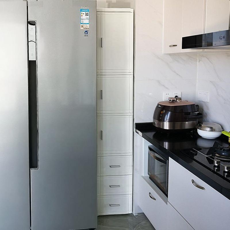25宽厨房夹缝收纳柜开门抽屉式冰箱缝隙窄柜35床头储物整理柜塑料