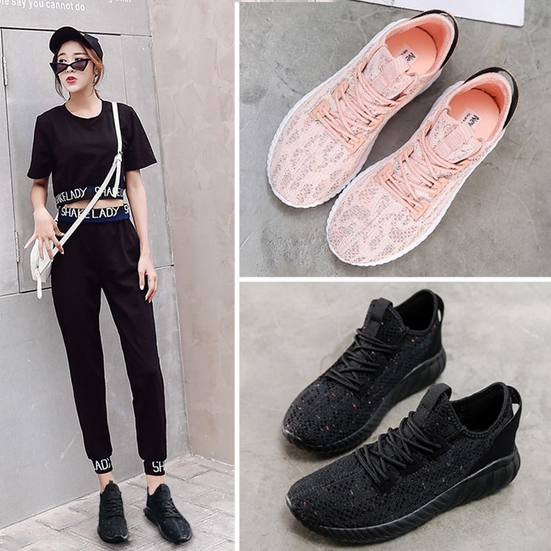 2020 Korean black mesh sports shoes womens summer new breathable casual light soft sole fitness running shoes