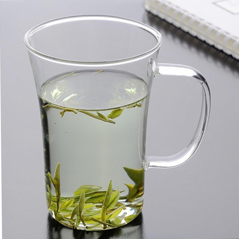 无盖圆形带把耐热玻璃泡茶 玻璃花茶杯绿茶杯子奶茶早餐杯饮料杯图片