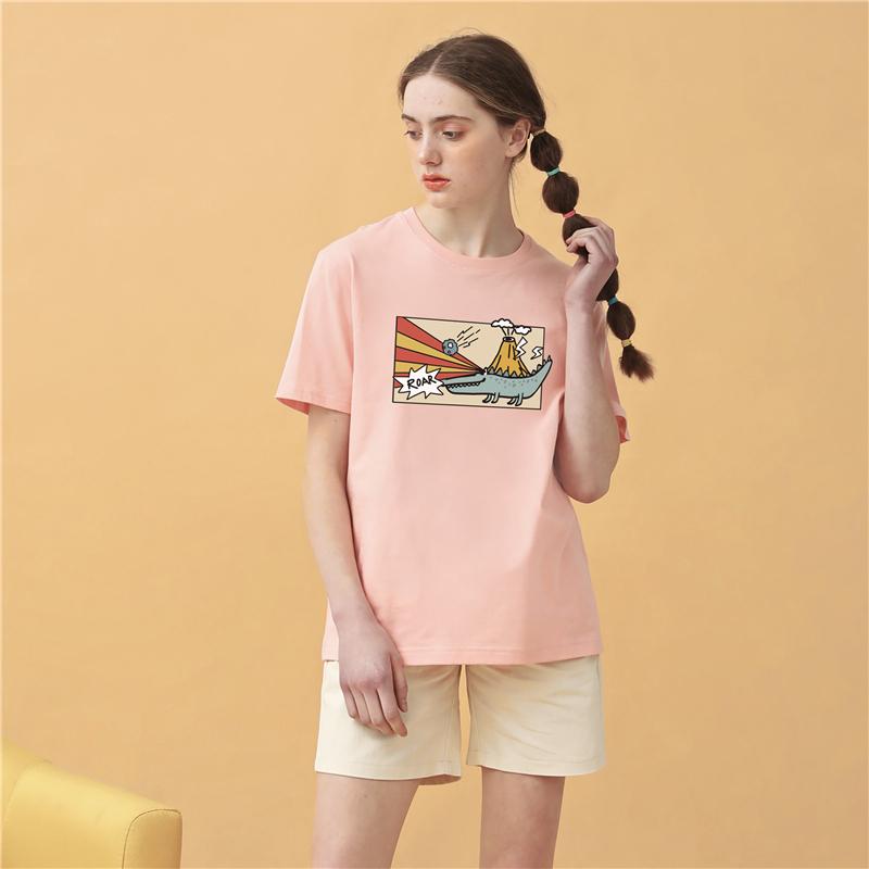 RPOD原创火山小鳄鱼宽松短袖白色T恤日系怪味学生情侣装夏装