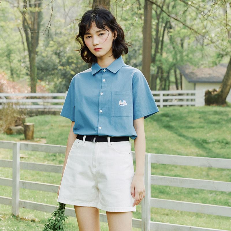 PROD独立设计 夏季纯色基本款短袖衬衫 复古趣味设计女生学生上衣