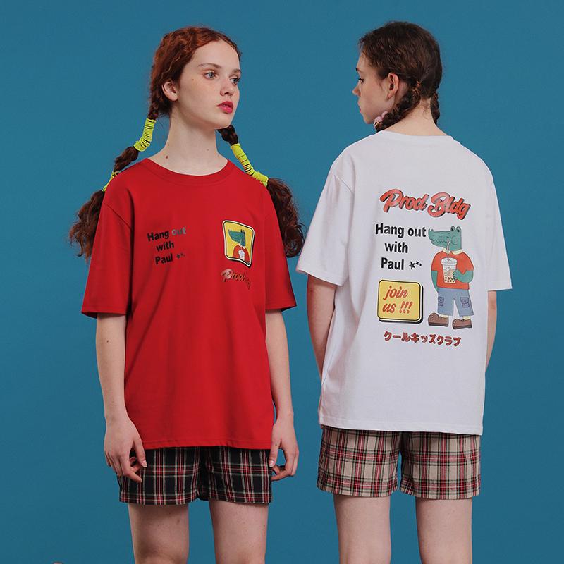 PROD夏短袖T恤女宽松古着感少女白色T恤鳄鱼爱喝奶茶半袖上衣