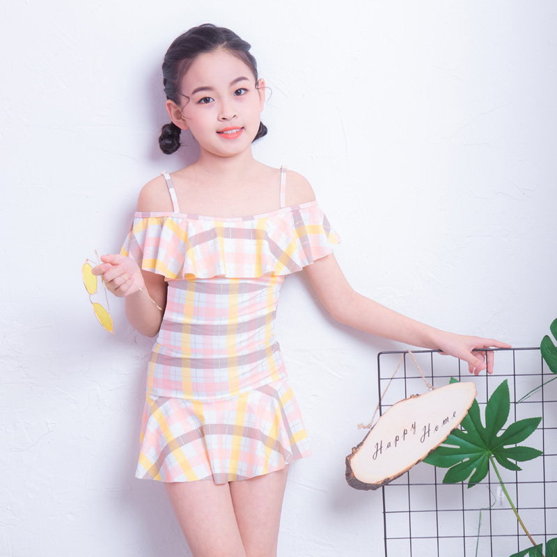 Sanqi childrens swimsuit girls middle and big childrens Princess Dress 2019 new girls swimsuit