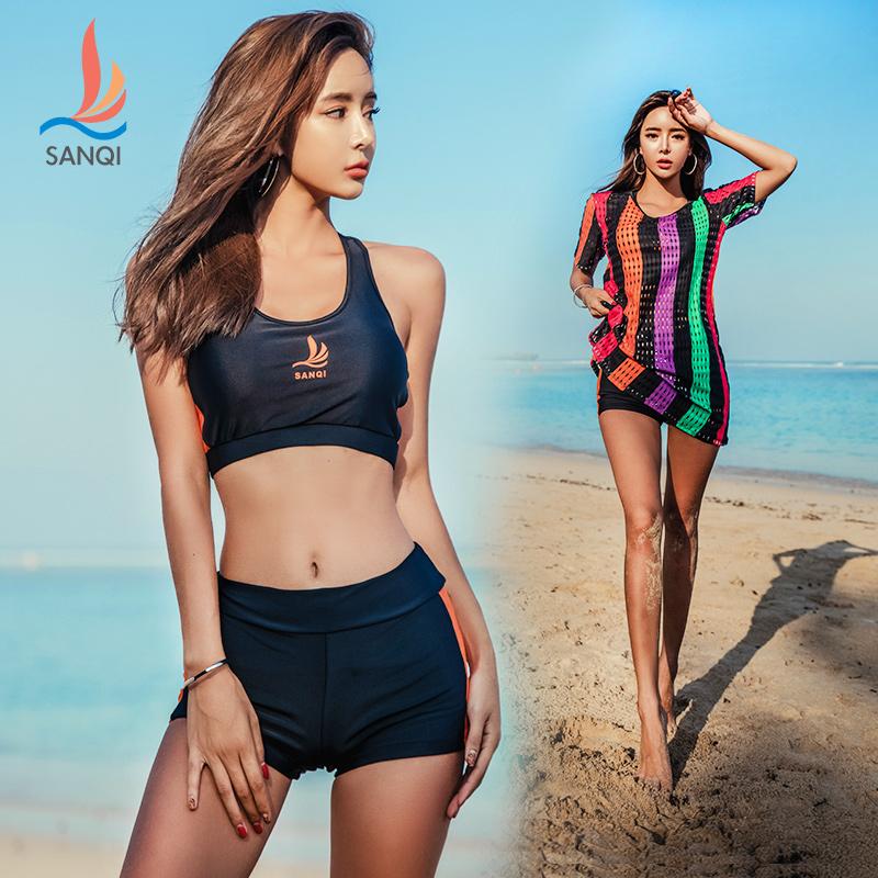 三奇泳装女分体平角三件套保守运动比基尼韩国显瘦遮肚罩衫游泳衣,可领取10元天猫优惠券
