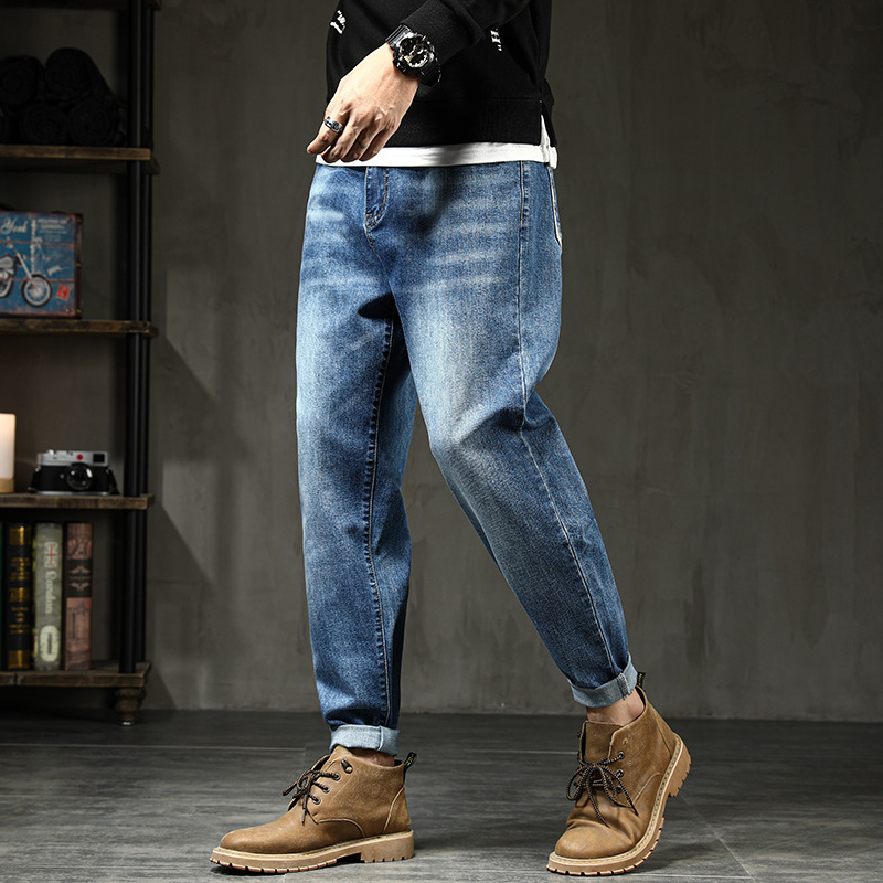 Autumn and winter new mens jeans loose and fat plus size Harlan pants elastic leggy pants fat man