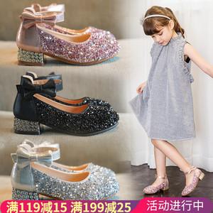 女童公主鞋小女孩水晶皮鞋2019春秋新款儿童单鞋高跟鞋子宝宝童鞋