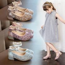 女童公主鞋小女孩水晶皮鞋2020春秋新款儿童单鞋高跟鞋子宝宝童鞋