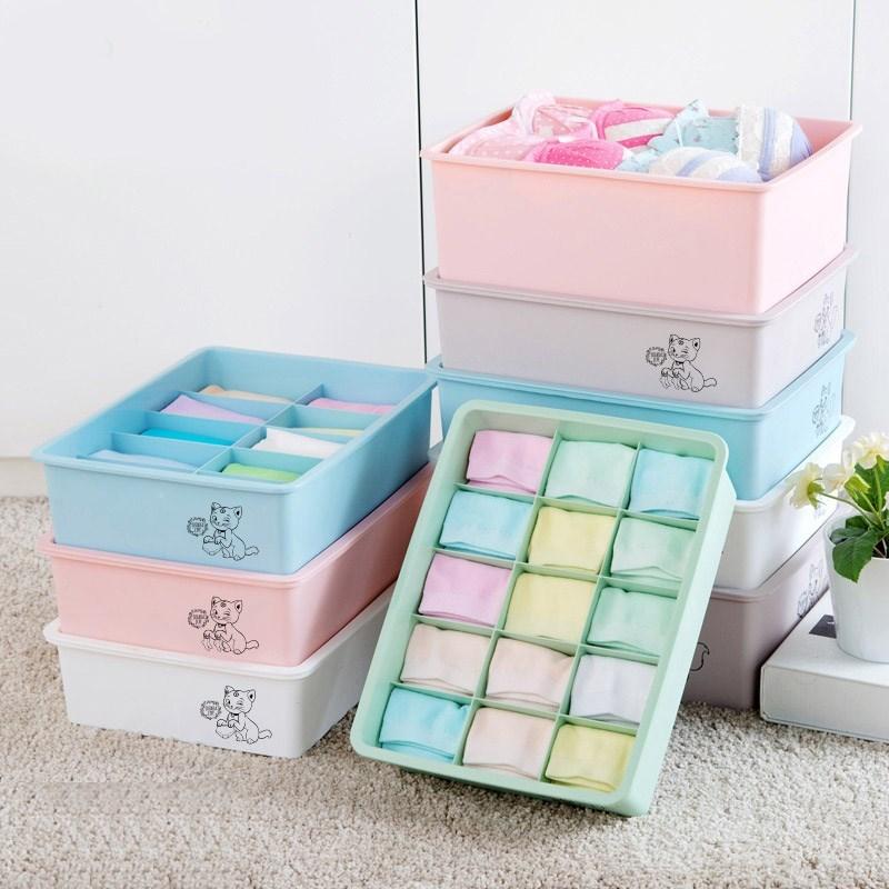 玩具内衣盒子收纳盒格子大号有盖生活袜子塑料短裤柜子小号箱子�|