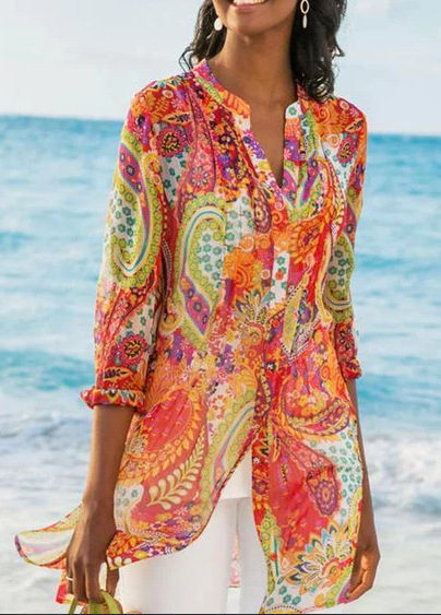 Guialabruna 2021 summer new European and American foreign trade womens wear Amazon wish shirt Bohemian holiday