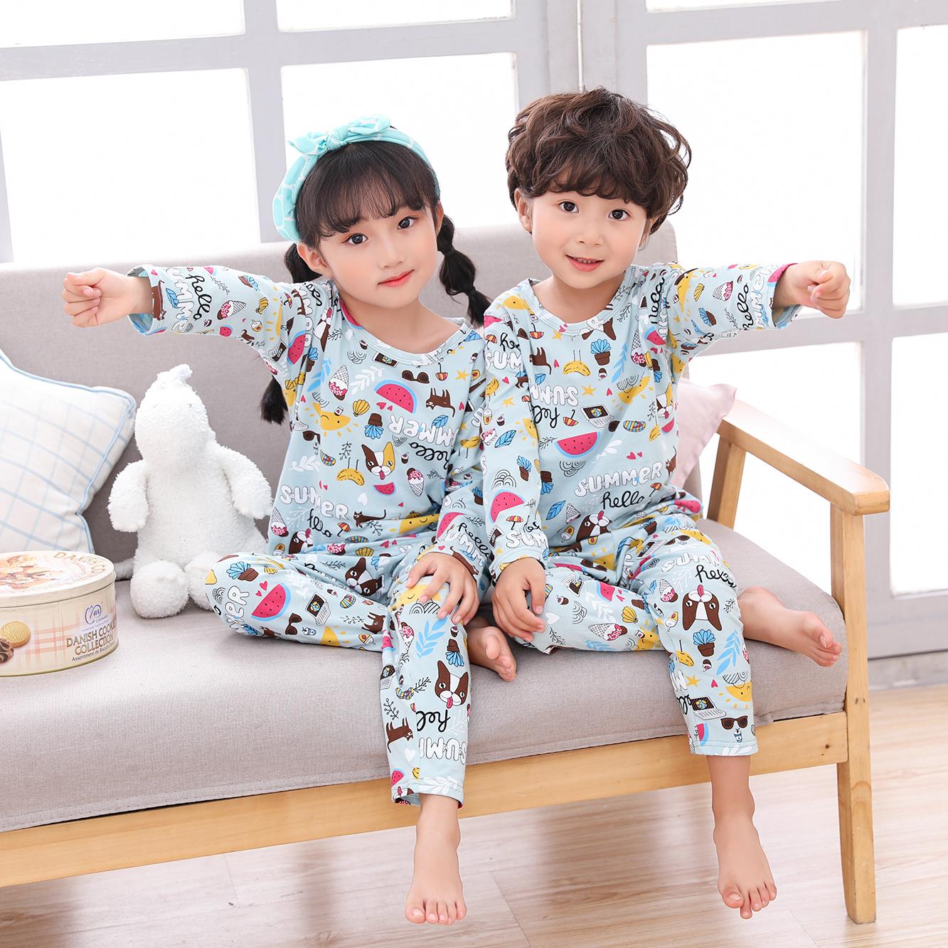 常常宅睡衣太阳狗 纯棉儿童春秋男女童长袖舒适卡通家居服套装