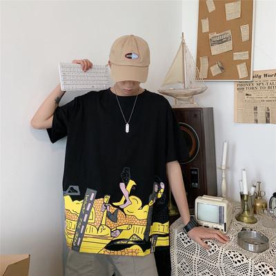T1045/P35男装 夏T恤男时尚圆领印花青年宽松棉短袖大码男士t恤潮