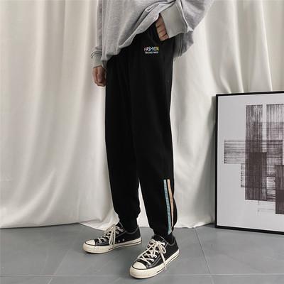 K2002/P50春裝新款全棉運動褲彩色刺繡衛褲休閑褲男士大碼哈倫褲