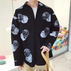 2018春装新款骷髅头印花衬衣男士宽松版长袖衬衫C203/P68(控价85)