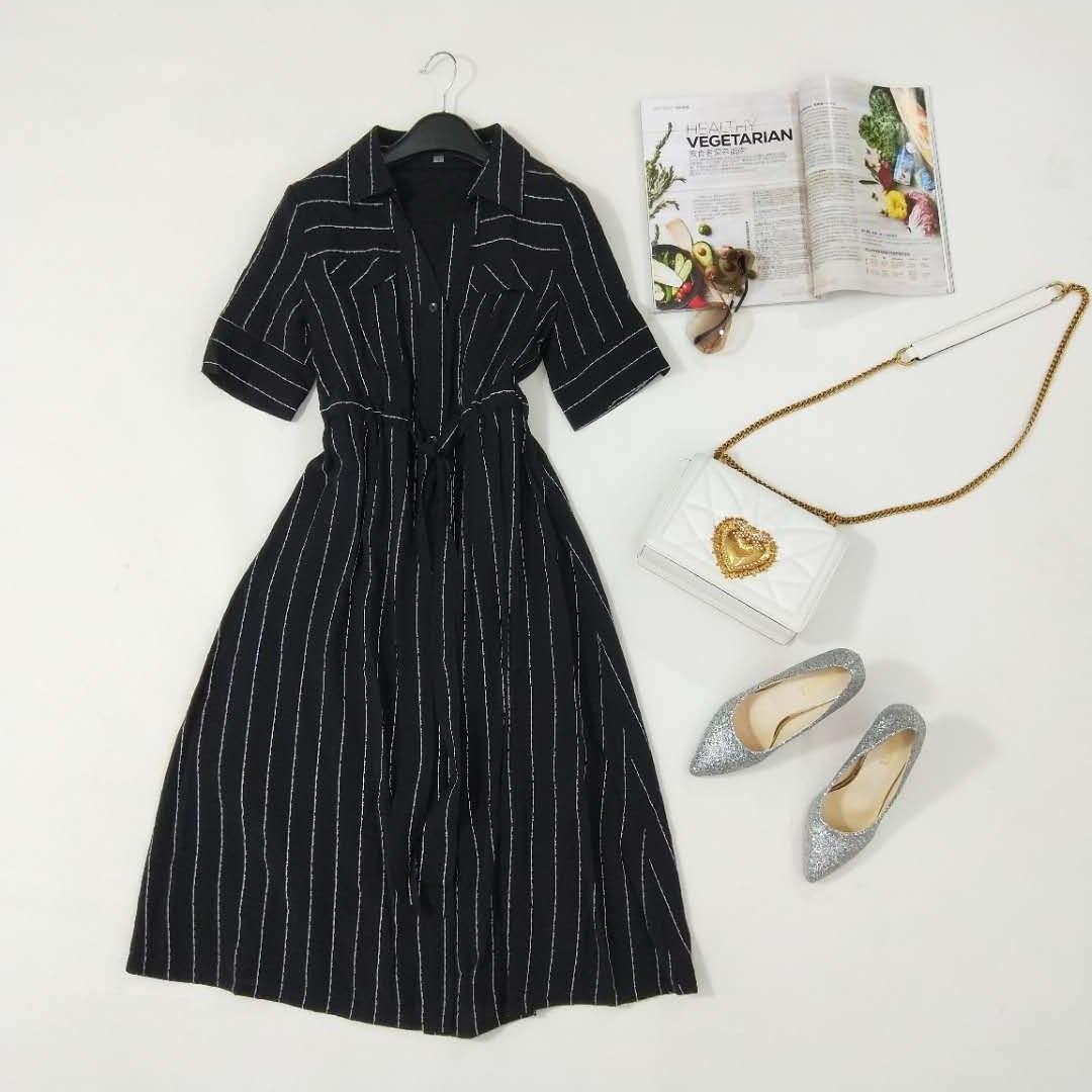 祈漫  2018夏秋季女装新款百搭潮流时尚连衣裙F1-4X-T012整款2068