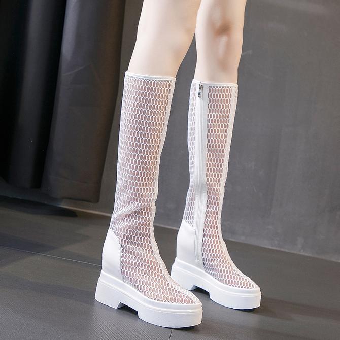款 高跟网纱靴女小个子厚底内增高长靴春秋百搭高筒凉靴透气网靴 新