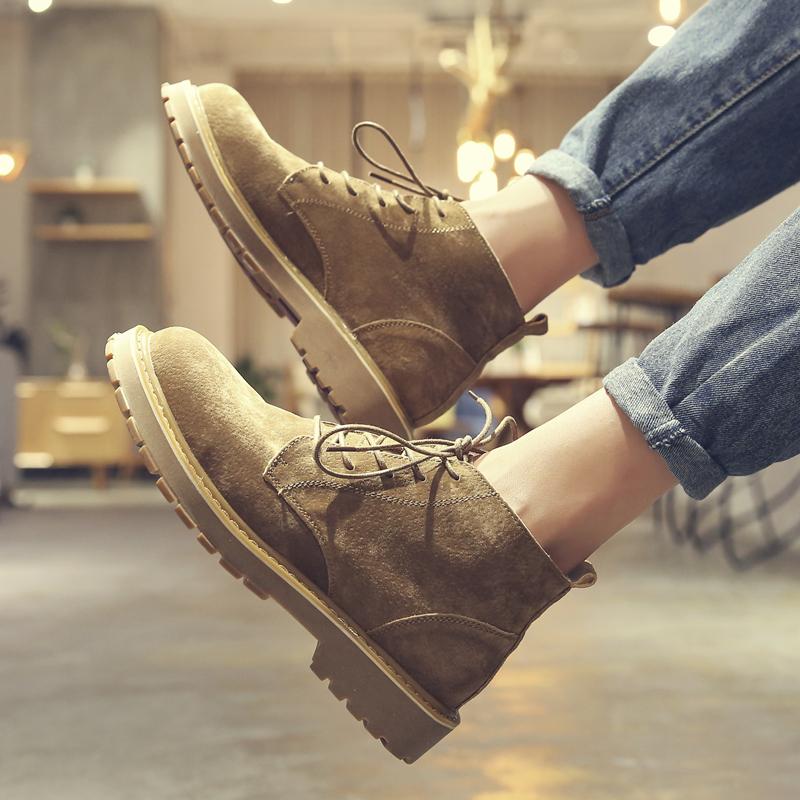 马丁靴男冬季中帮加绒英伦风工装鞋高帮潮流短靴雪地真皮复古靴子
