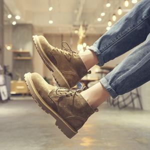 马丁靴男夏季透气英伦高帮工装靴子