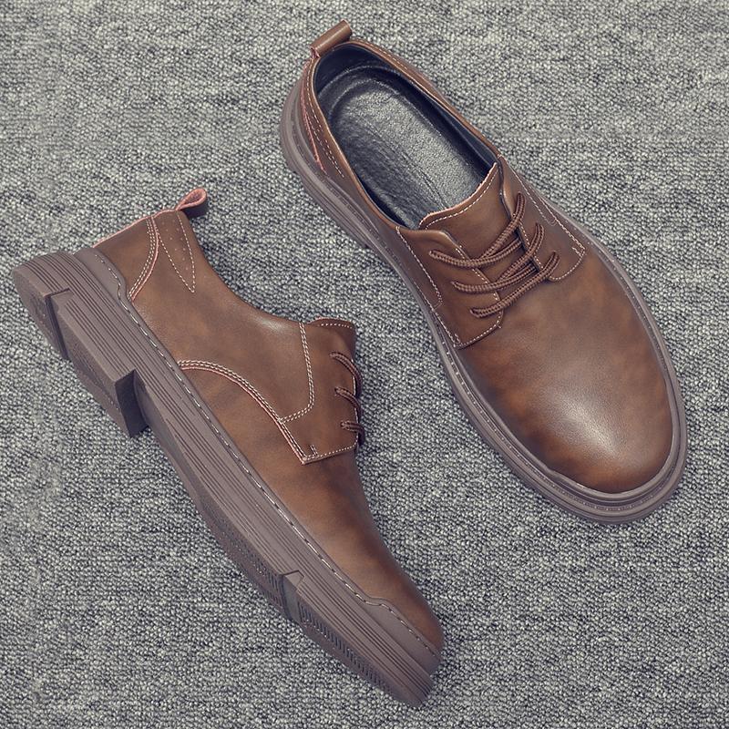 工装鞋男夏季透气低帮马丁鞋子真皮英伦潮靴百搭耐磨大头休闲皮鞋
